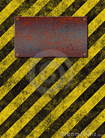 Warning sign stripes plaque