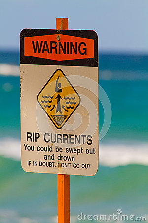 Warning Sign Swimming Rip Tides Currents