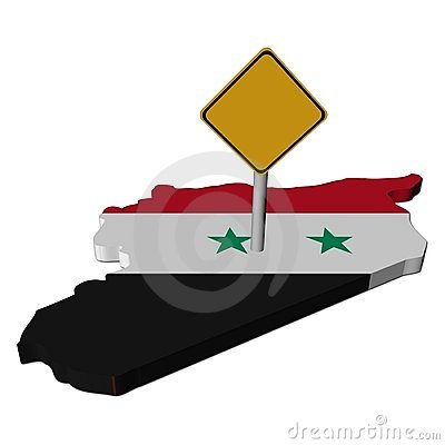 Warning sign on Syria map flag
