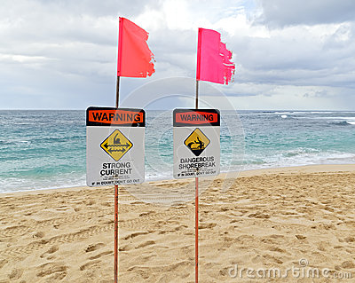 Warning signs on north shore oahu