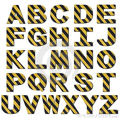Warning stripes font