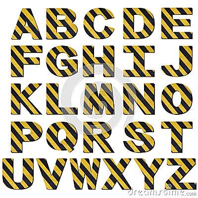 Warning stripes font