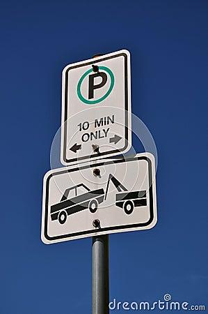 Free Warning Tow Away Zone Sign Stock Photos - 21645273