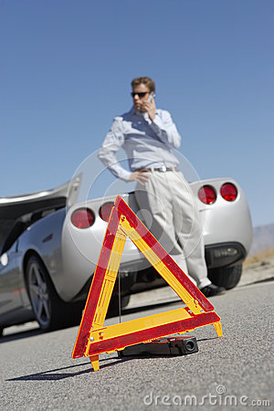 Free Warning Triangle With Man On Call By Car On Road Stock Image - 30842921