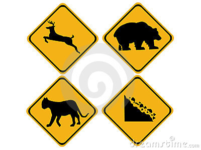 Warning wildlife signs