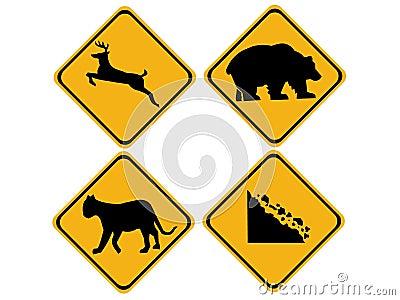Warning wildlife signs