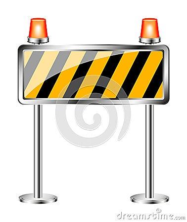 Warnzeichen mit orange blinkender Sirene