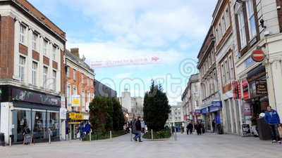 Warrington town centre pedestrian street. WARRINGTON, ENGLAND, UK - MARCH, 2017: English town centre center in the north west.People walking, shopping in stock video