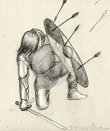 Warrior and enemy arrows