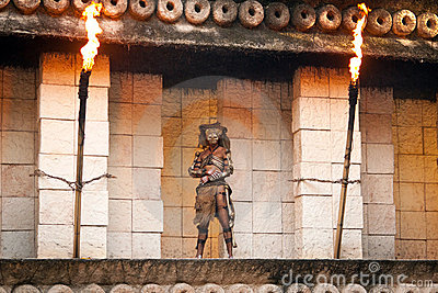 Warrior on guard to the Mayan temple Editorial Stock Photo