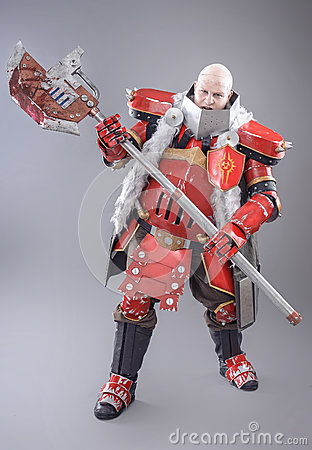 Free Warrior In The Armor With Axe Stock Image - 53963131