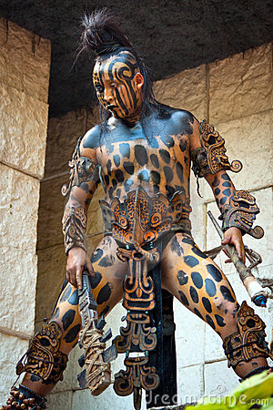 Warrior at Mayan temple Editorial Photography
