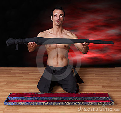 Warrior presenting his sword