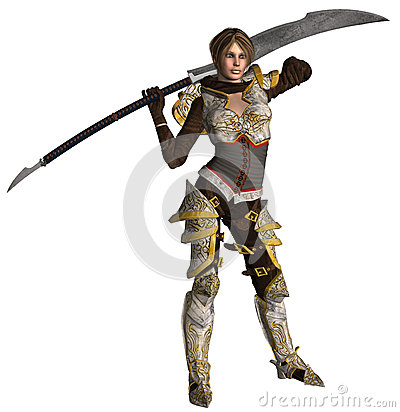 Warrior Woman on isolated background 3D rendered