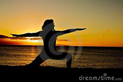 Warrior Yoga Pose at Sunset