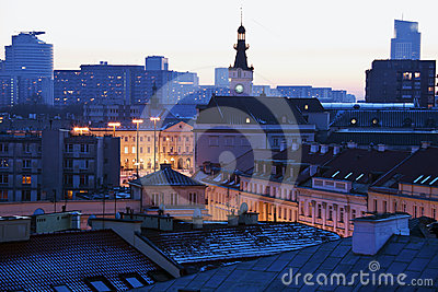 Warsaw architecture at sunset