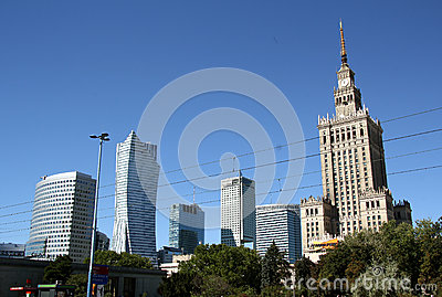 Warsaw bussines district (Poland) Editorial Stock Image