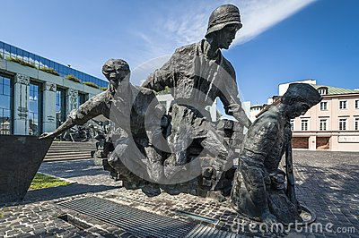 Warsaw Uprising Monument in Warsaw - closeup Editorial Photo