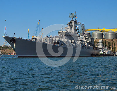 Warship docked in the port