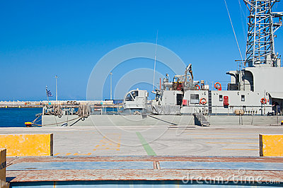 Warship in a harbor of Rhodes, Greece.