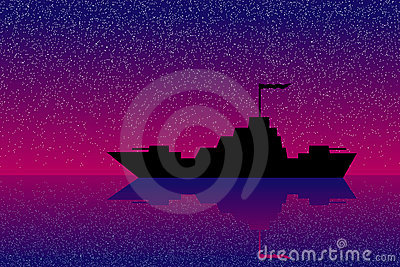 Warship at night