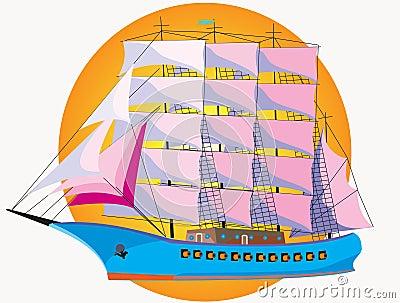 Warship with sail