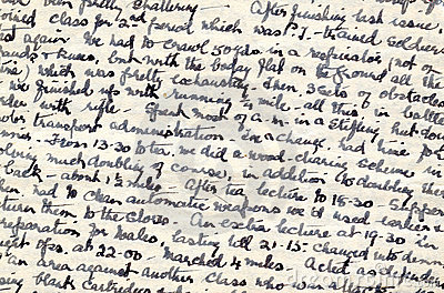 Wartime diary handwriting