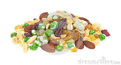 Wasabi peas almonds and dried fruit