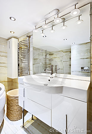 Wash stand with mirror in modern bathroom