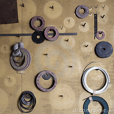 Washers and gaskets on wall