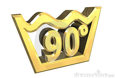Washing 90 degree symbol in gold isolated - 3D