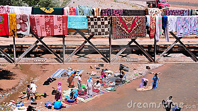 Washing carpets in Morocco Editorial Stock Image