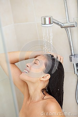 Washing Hair Shower Woman Royalty Free Stock Images