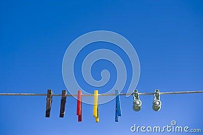 Washing Line Against Bright Blue Sky