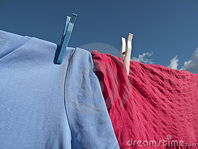 Washing on Line - Blue Sky