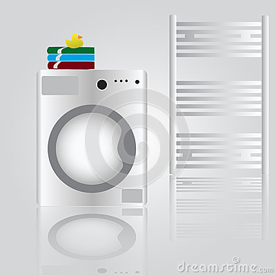 Washing Machine In Bathroom Stock Image Image 37376861
