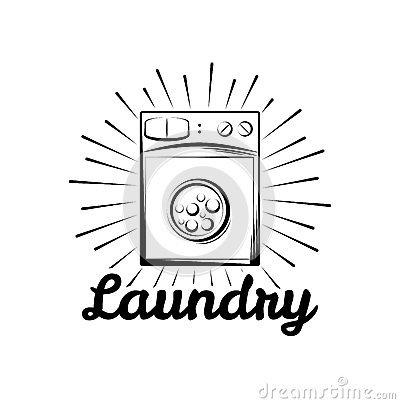 Free Washing Machine. Laundry Room And Dry Cleaning Label And Badge.  On White Stock Photography - 89996732