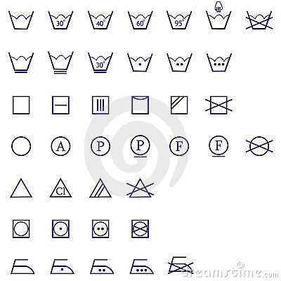 Washing signs icon set