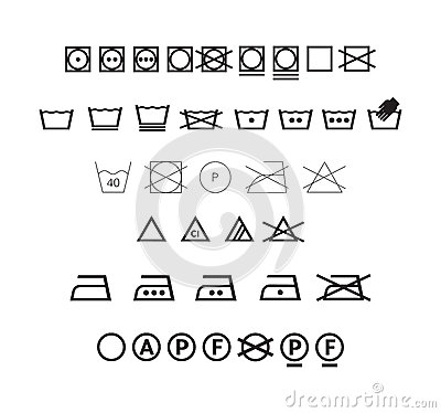 Washing symbols set