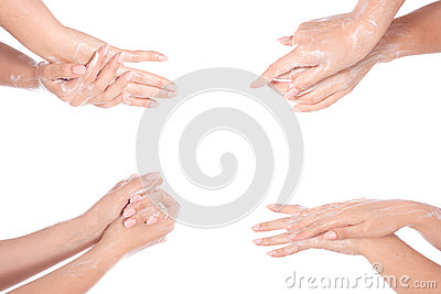 Washing teenager hands