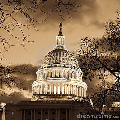 Free Washington DC - Capitol Building Dome In Sepia Stock Image - 23026631