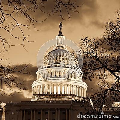 Washington DC - Capitol building dome in sepia