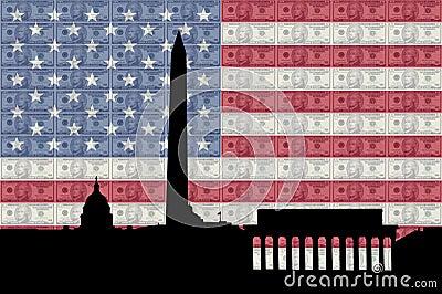 Washington DC with cash and flag