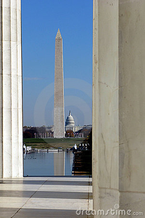 Washington DC Landmarks with Capitol and Monument
