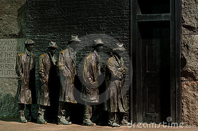 Washington DC,  Roosevelt Memorial, Bread line Editorial Photography