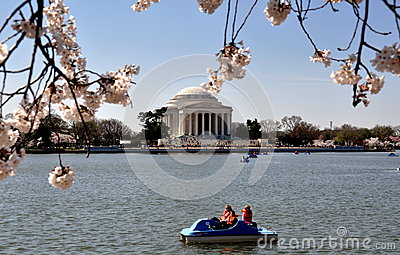 Washington, DC: Tidal Basin and Jefferson Memorial Editorial Stock Photo