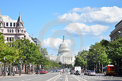 Washington DC, United States Capitol building. A view from from Pennsylvania Avenue