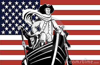 Washington at the helm with flag