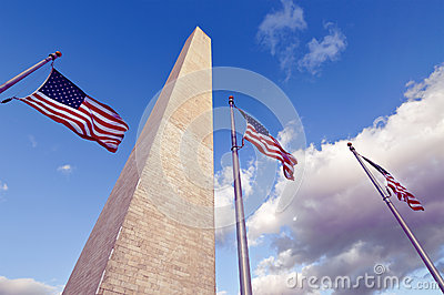 The Washington Monument and American Flags