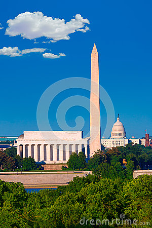 Free Washington Monument Capitol And Lincoln Memorial Royalty Free Stock Photography - 50740157